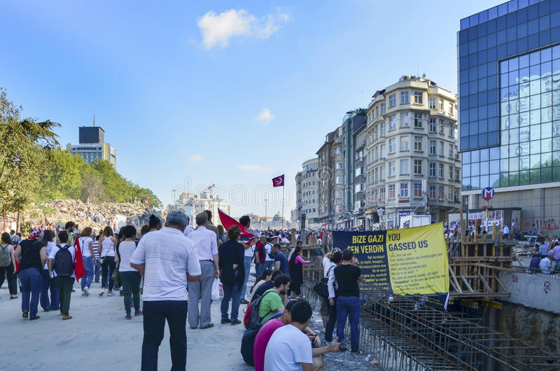 Taksim Gezi Park protests and Events. The view from Taksim Square. royalty free stock photography