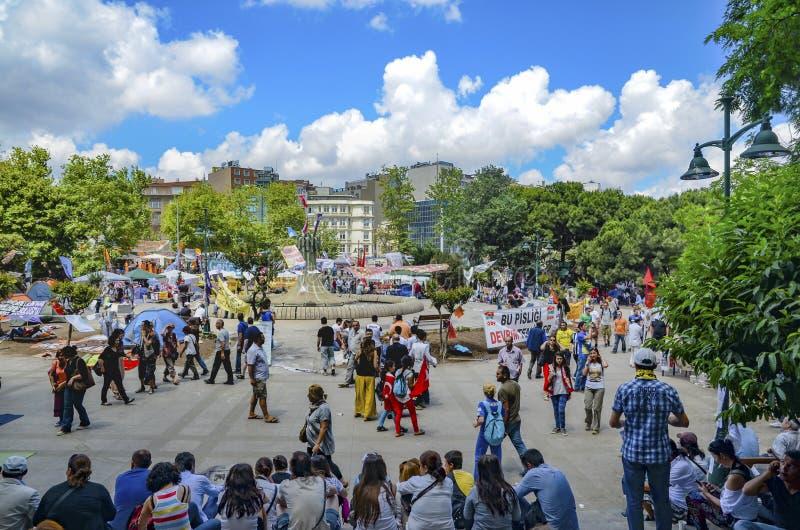 Taksim Gezi parkerar protester och händelser Det har startat handlingagai royaltyfri bild