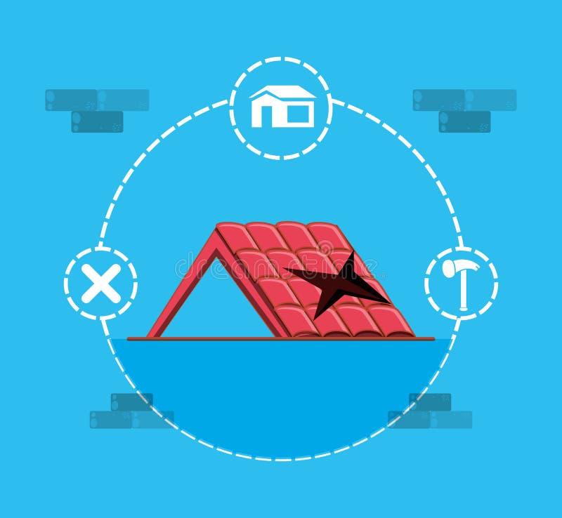 Takstruktur med hem- reparationssymboler stock illustrationer