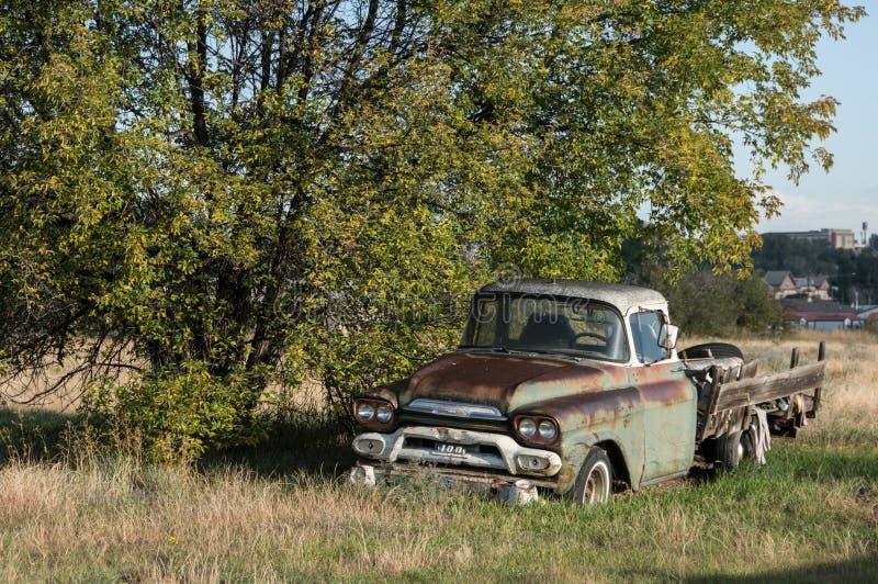 Takt upp gamla Rusty Pick Up Truck Parked under ett träd royaltyfri fotografi