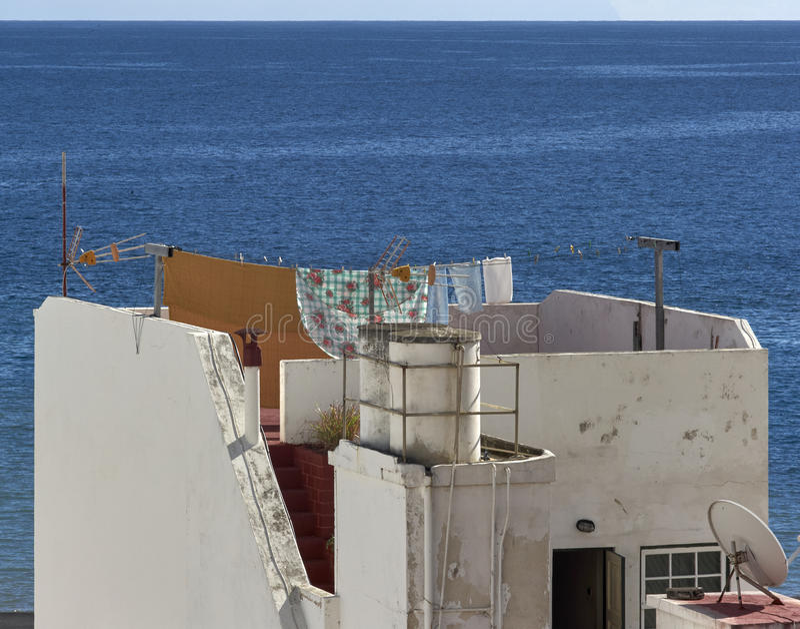 Takterrass Santa Cruz, La Palma arkivbilder