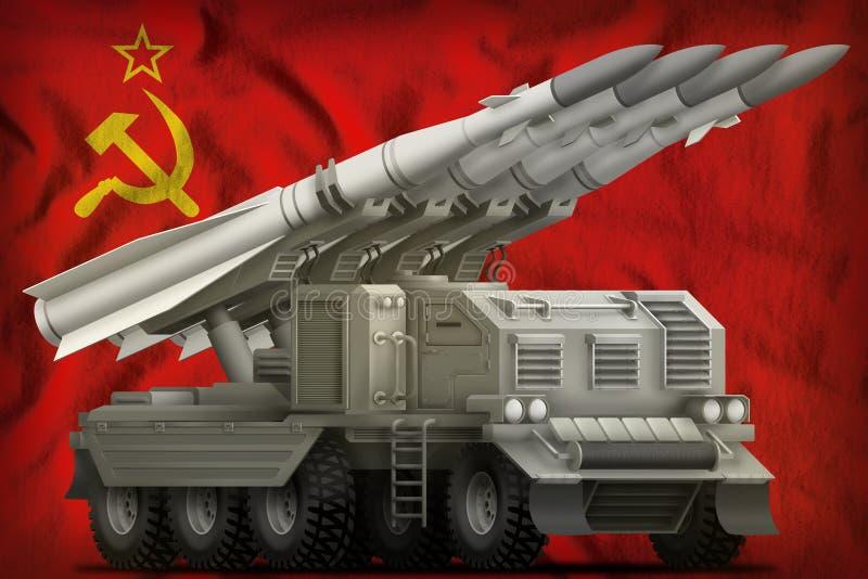 Taktische Kurzstreckenballistische rakete auf der Sowjetunion SSSR, UDSSR-Staatsflaggehintergrund 9. Mai Siegtageskonzept 3d lizenzfreie abbildung