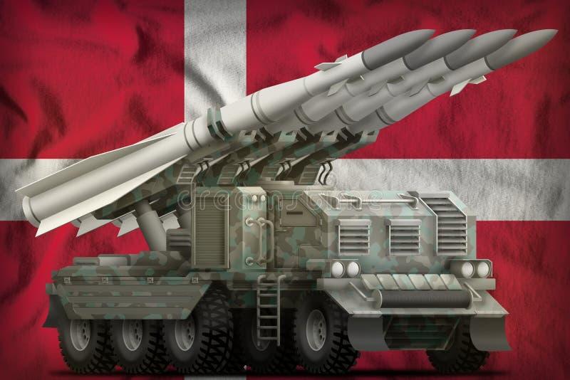 Taktische Kurzstreckenballistische rakete mit arktischer Tarnung auf dem Dänemark-Staatsflaggehintergrund Abbildung 3D stock abbildung