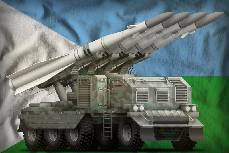 Taktische Kurzstreckenballistische rakete mit arktischer Tarnung auf dem Dschibuti-Staatsflaggehintergrund Abbildung 3D vektor abbildung