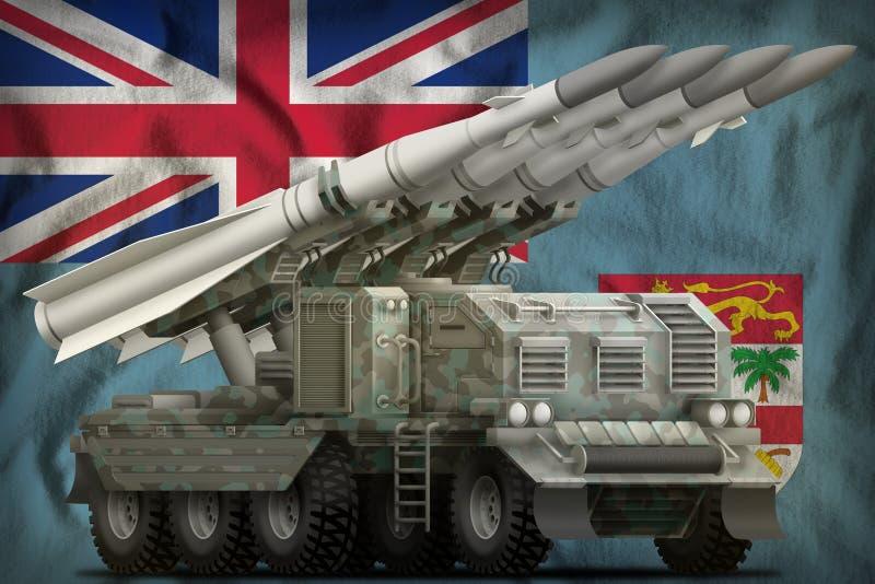 Taktische Kurzstreckenballistische rakete mit arktischer Tarnung auf dem Fidschi-Staatsflaggehintergrund Abbildung 3D stock abbildung