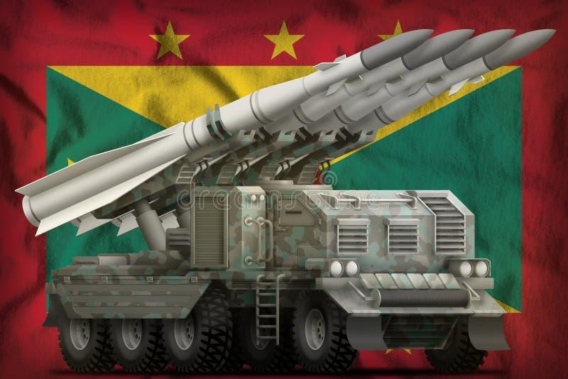Taktische Kurzstreckenballistische rakete mit arktischer Tarnung auf dem Grenada-Staatsflaggehintergrund Abbildung 3D lizenzfreie abbildung