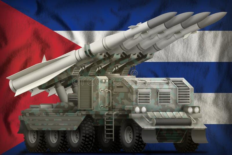 Taktische Kurzstreckenballistische rakete mit arktischer Tarnung auf dem Kuba-Staatsflaggehintergrund Abbildung 3D stock abbildung