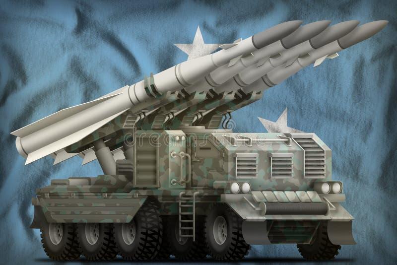 Taktische Kurzstreckenballistische rakete mit arktischer Tarnung auf dem Mikronesien-Staatsflaggehintergrund Abbildung 3D vektor abbildung