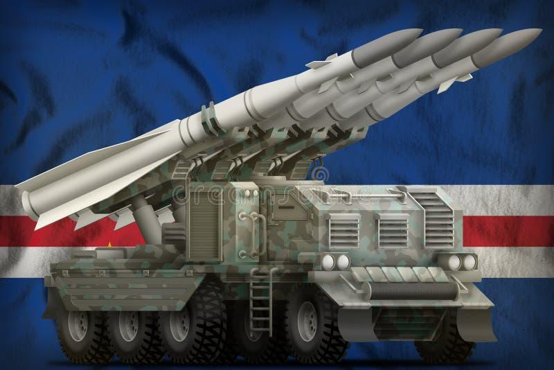 Taktische Kurzstreckenballistische rakete mit arktischer Tarnung auf dem Staatsflaggehintergrund Cabo Verde Abbildung 3D lizenzfreie abbildung