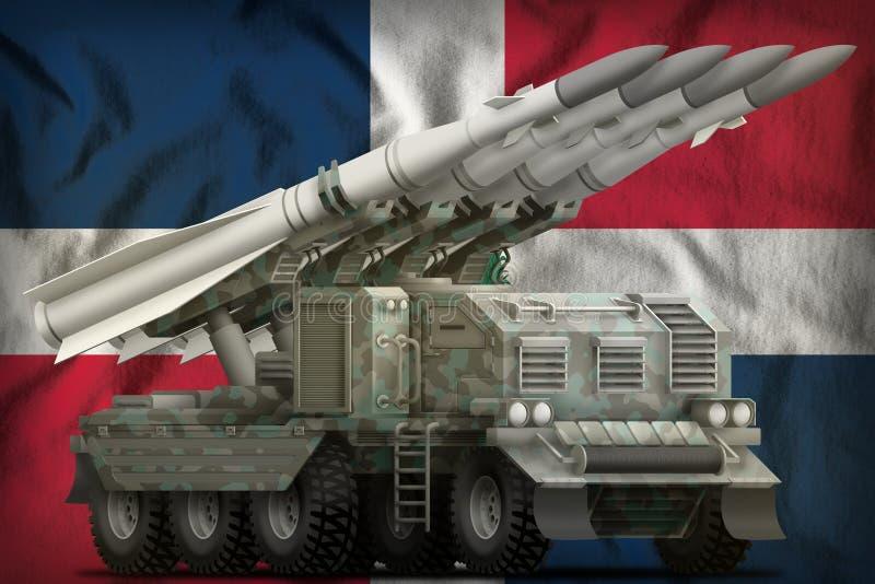 Taktische Kurzstreckenballistische rakete mit arktischer Tarnung auf dem Staatsflaggehintergrund der Dominikanischen Republik Abb stock abbildung