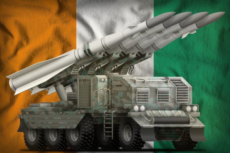 Taktische Kurzstreckenballistische rakete mit arktischer Tarnung auf dem Staatsflaggehintergrund des Taubenschlages d Ivoire Abbi stock abbildung