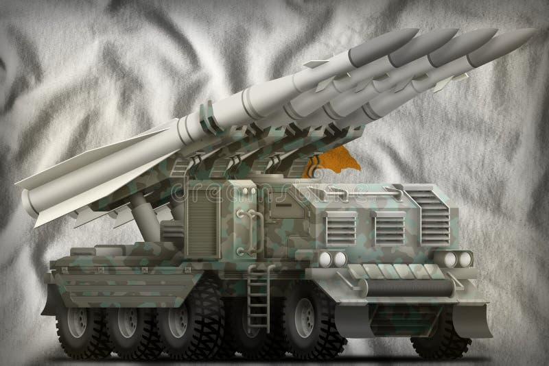 Taktische Kurzstreckenballistische rakete mit arktischer Tarnung auf dem Zypern-Staatsflaggehintergrund Abbildung 3D stock abbildung