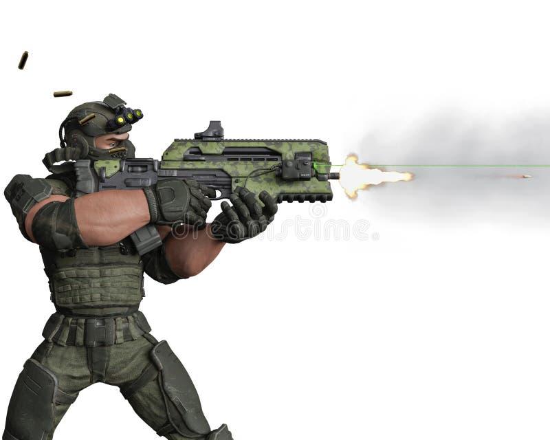 Taktisk armémantecknad film i vit bakgrund royaltyfri illustrationer