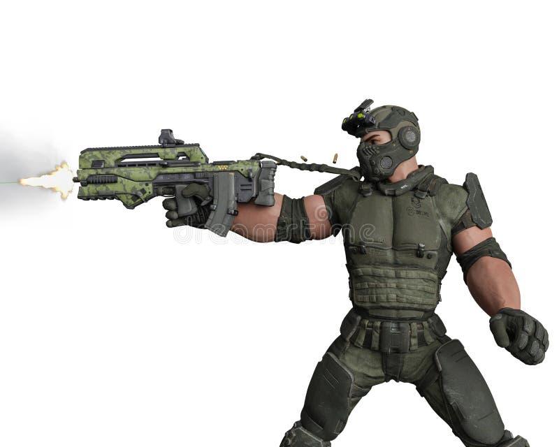 Taktisk armémantecknad film i vit bakgrund vektor illustrationer