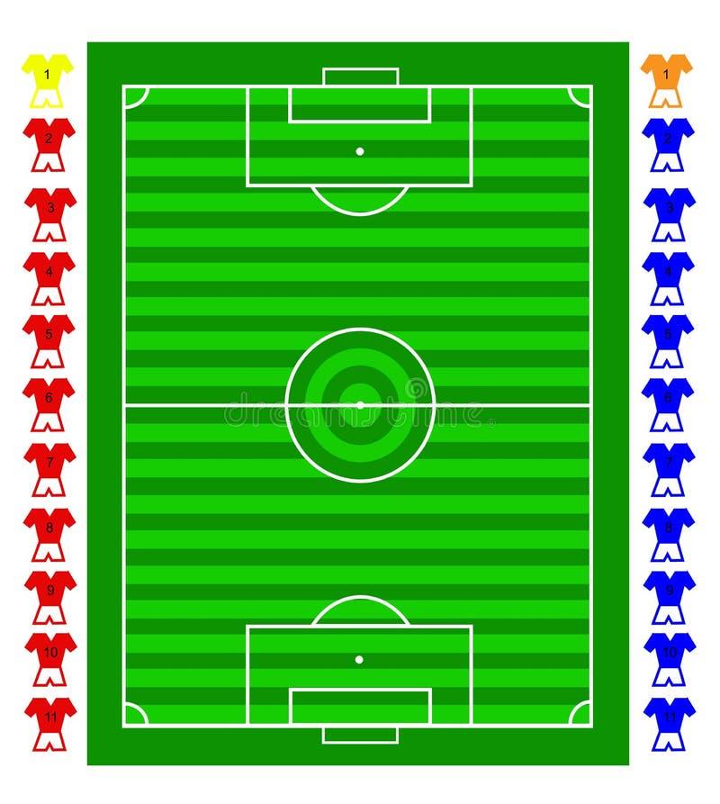 taktisk fotbollpitchfotboll stock illustrationer