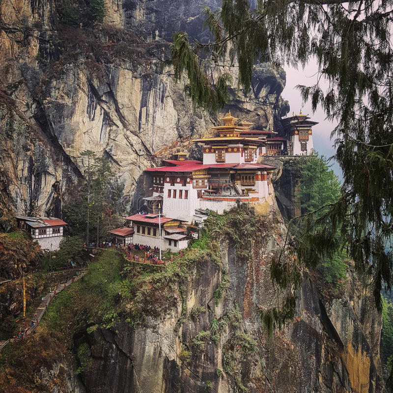 Taktsang Tiger`s Nest, the breath-taking attraction in Bhutan. stock photography