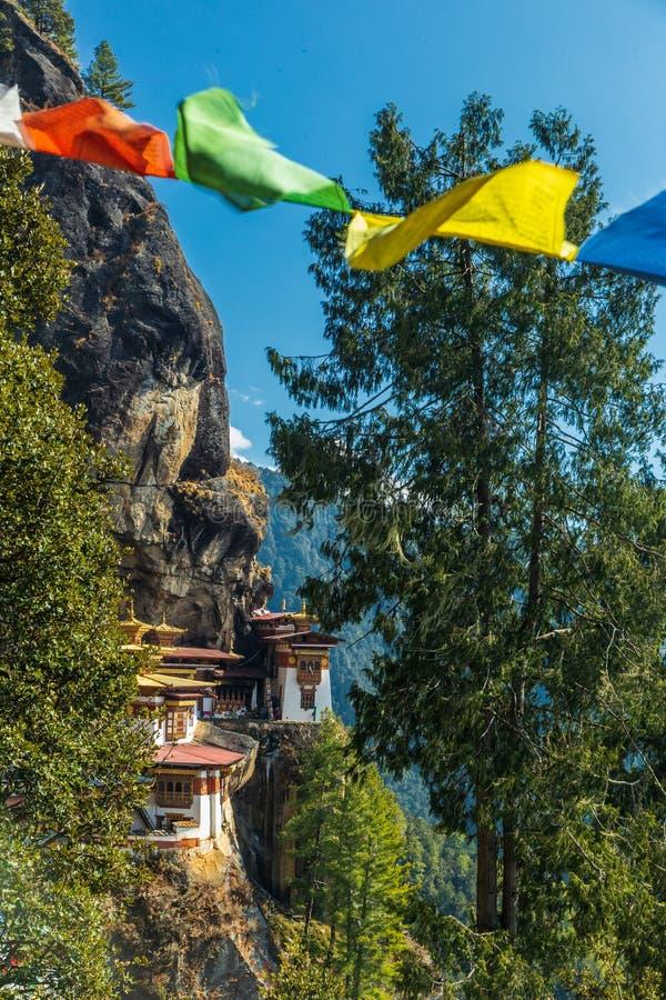 Taktshang修道院在Paro,不丹山的老虎的巢看法  免版税库存图片