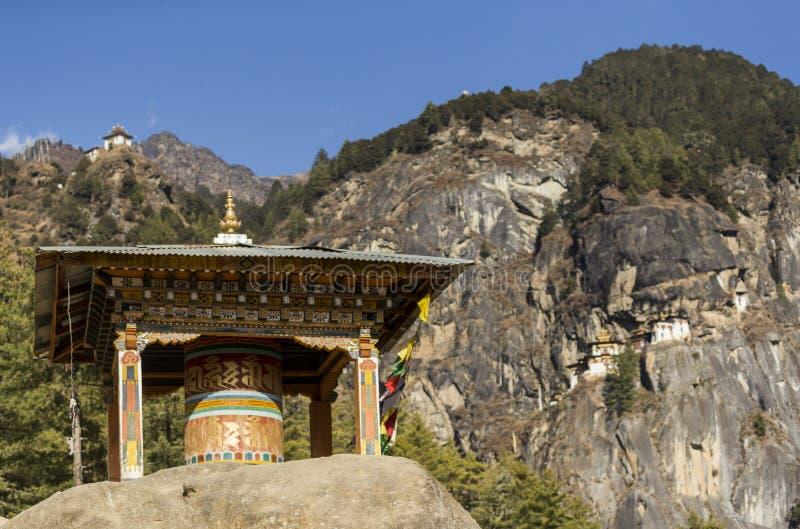 Taktshang Goemba或老虎` s巢寺庙,不丹 免版税库存图片