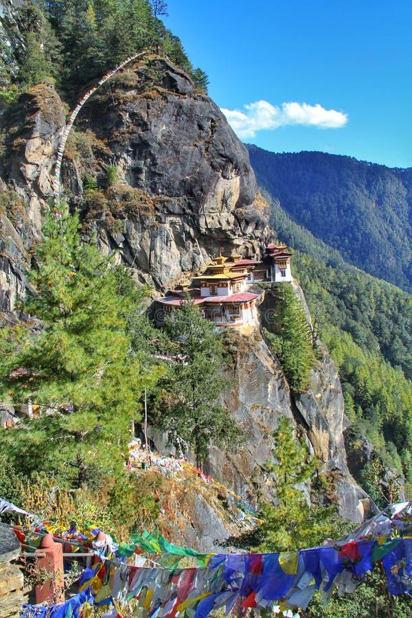 Taktshang Goemba or Tiger`s nest monastery, Paro, Bhutan.  royalty free stock photos