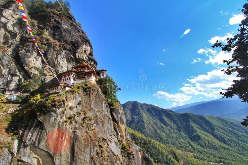 Taktshang Goemba or Tiger`s nest monastery, Paro, Bhutan.  stock photo