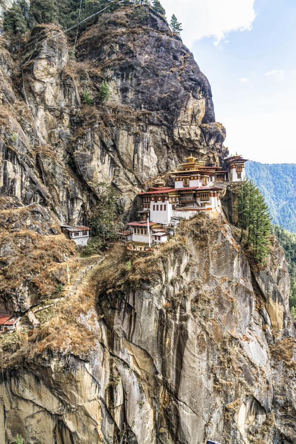 Taktshang Goemba or Tiger's nest Temple on mountain, Bhutan. Taktshang Goemba or Tiger's nest Temple or Tiger's nest monastery the most beautiful buddhist temple stock image