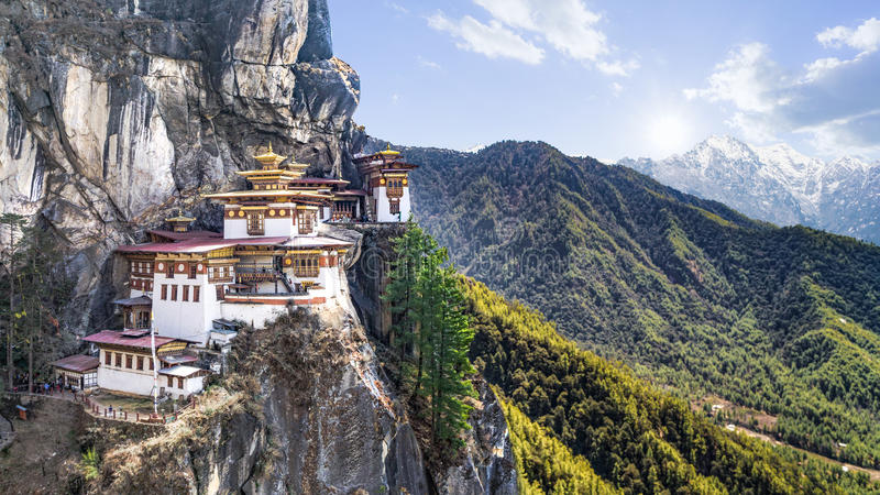 Taktshang Goemba or Tiger's nest Temple on mountain, Bhutan. Taktshang Goemba or Tiger's nest Temple or Tiger's nest monastery the most beautiful buddhist temple royalty free stock images