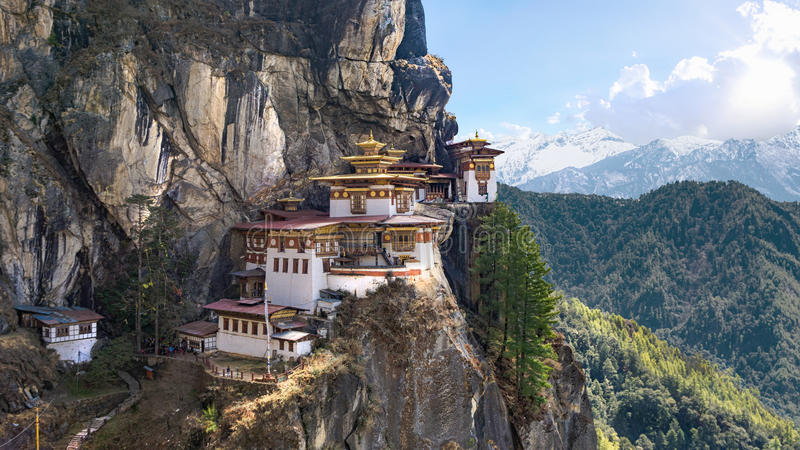 Taktshang Goemba or Tiger's nest Temple on mountain, Bhutan. Taktshang Goemba or Tiger's nest Temple or Tiger's nest monastery the most beautiful buddhist temple stock photos