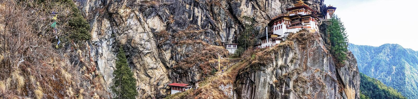 Taktshang Goemba or Tiger's nest Temple on mountain in Panorama view. Taktshang Goemba or Tiger's nest Temple or Tiger's nest monastery the most beautiful stock images
