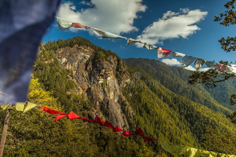 View of Tiger`s Nest Monastery on the mountain, Bhutan royalty free stock images