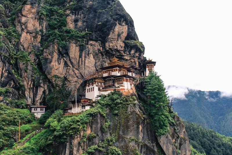Taktshang Monastery (Tiger's Nest), Paro Valley, Paro District, Bhutan. Monastery hugging the side of a rocky cliff 3,000 feet above the Paro valley in Bhutan royalty free stock photos