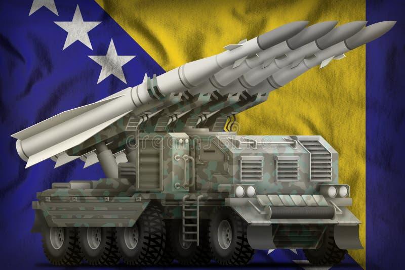 Taktyczny krótkiego zasięgu pocisk balistyczny z arktycznym kamuflażem na Bośnia i Herzegovina fladze państowowej tło 3d ilustracja wektor