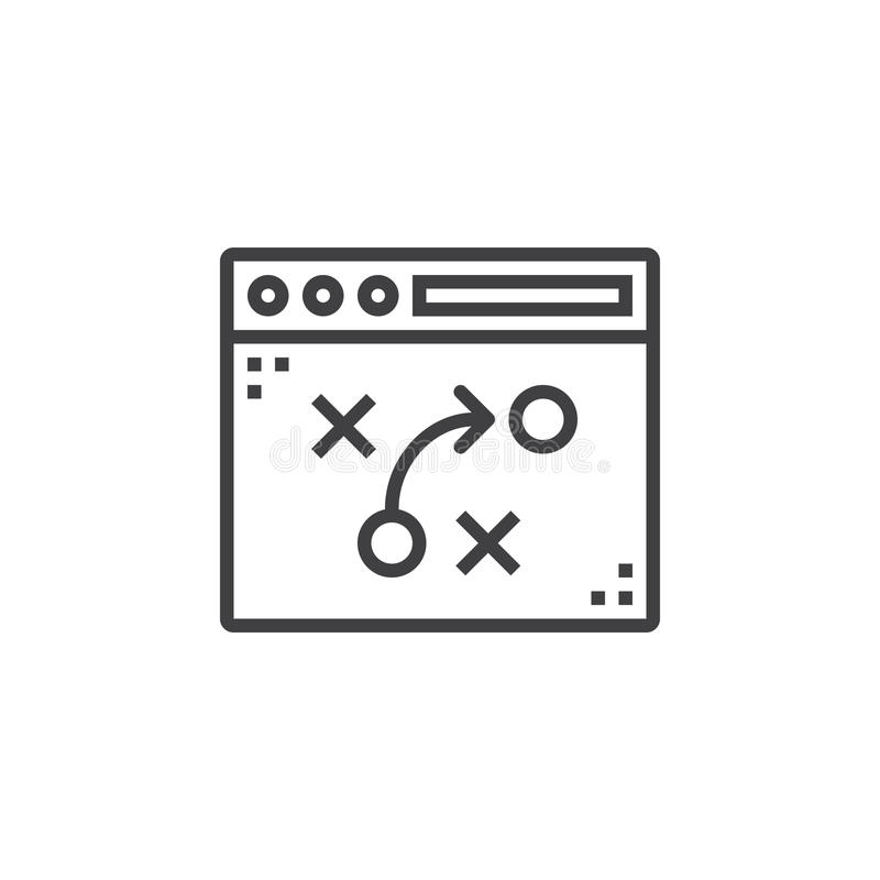 Taktyki, strategia planuje kreskową ikonę, konturu wektoru znak, ilustracja wektor