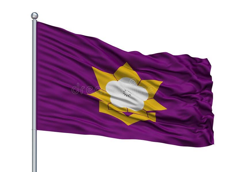 Taku City Flag On Flagpole, Japan, Saga-Präfektur, lokalisiert auf weißem Hintergrund lizenzfreie abbildung