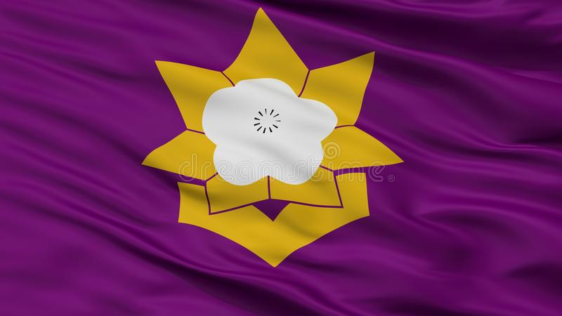Taku City Flag, Japan, Saga-Präfektur, Nahaufnahme-Ansicht lizenzfreie abbildung