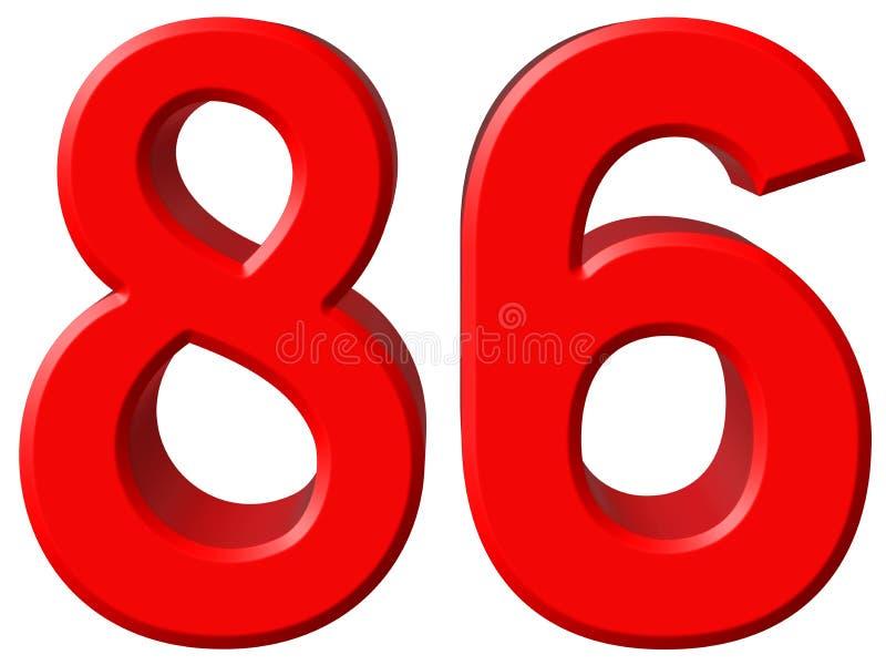 Tal 86, åttiosex som isoleras på vit bakgrund, 3d framför vektor illustrationer