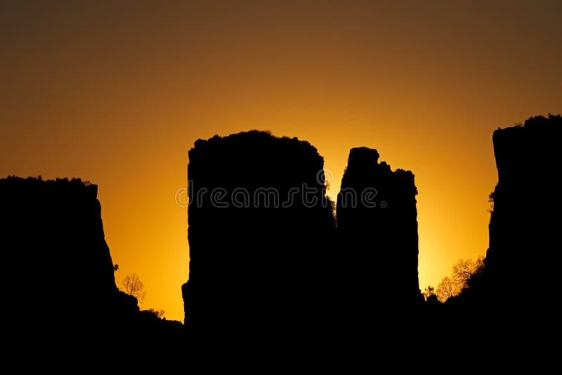Tal der Desolation bei Sonnenuntergang - Südafrika stockbild