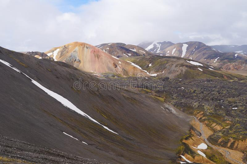 Tal des Nationalparks Landmannalaugar, Island lizenzfreies stockfoto