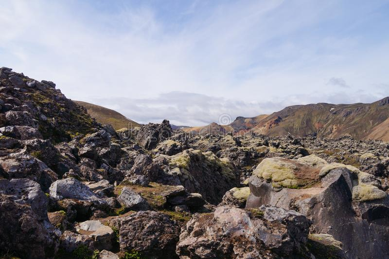 Tal des Nationalparks Landmannalaugar, Island stockfotografie