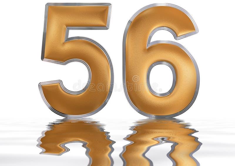 Tal 56, femtiosex, reflekterad på vattenyttersidan, vektor illustrationer