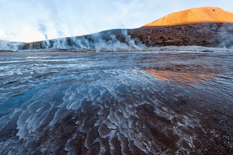 Tal-Geysire an EL Tatio, Nord-Chile, Atacama lizenzfreies stockbild