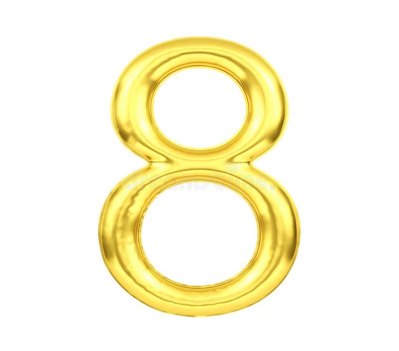 Tal 8, guld- ballong nummer åtta som isoleras på vit bakgrund, tolkning 3D vektor illustrationer