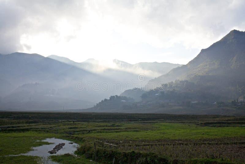 Tal mit Nebel in Vietnam lizenzfreie stockfotografie