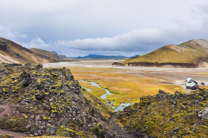 Tal-Nationalpark Landmannalaugar - überraschendes Island stockbild