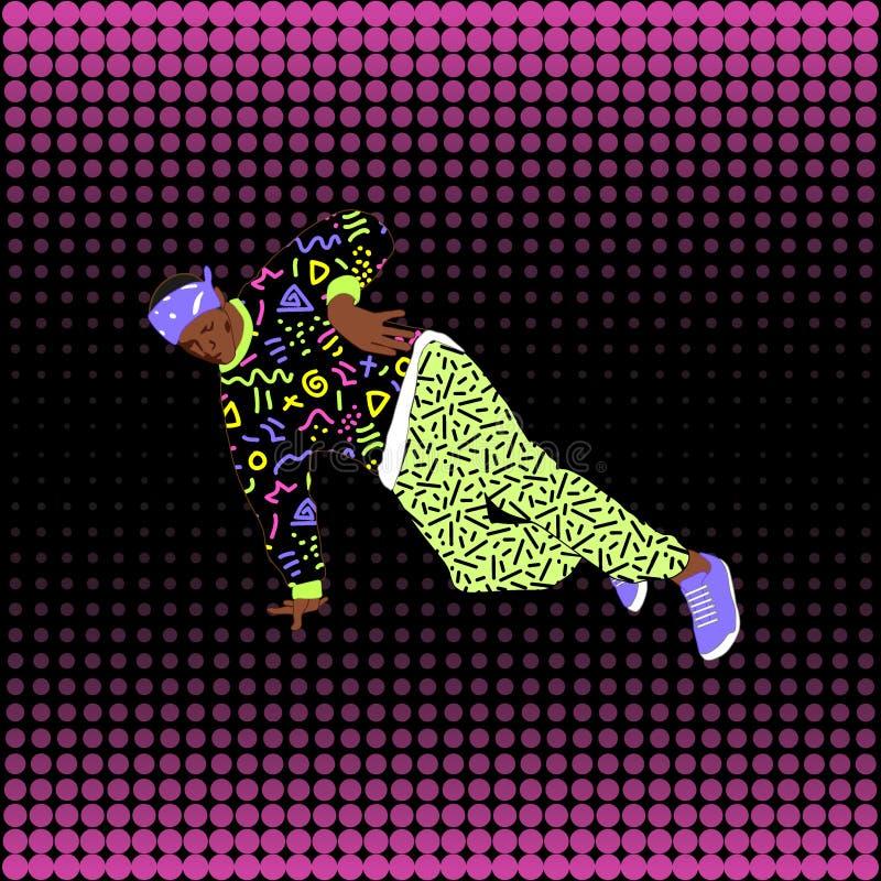 80-tal och dansare för avbrott för 90-talstilgata vektor illustrationer