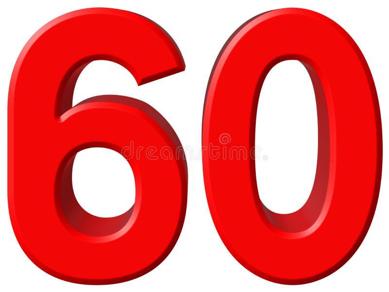 Tal 60, sextio, sextio som isoleras på vit bakgrund, rende 3d vektor illustrationer