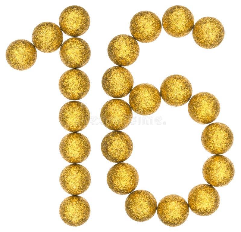 Tal 16, sexton, från dekorativa bollar som isoleras på vita lodisar royaltyfri foto