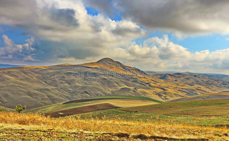 Tal in Shamakhi-Region von Aserbaidschan stockfoto