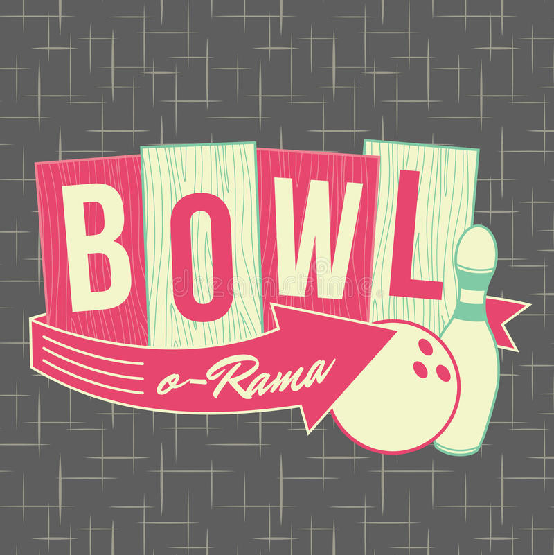 50-tal som bowlar stil Logo Design vektor illustrationer