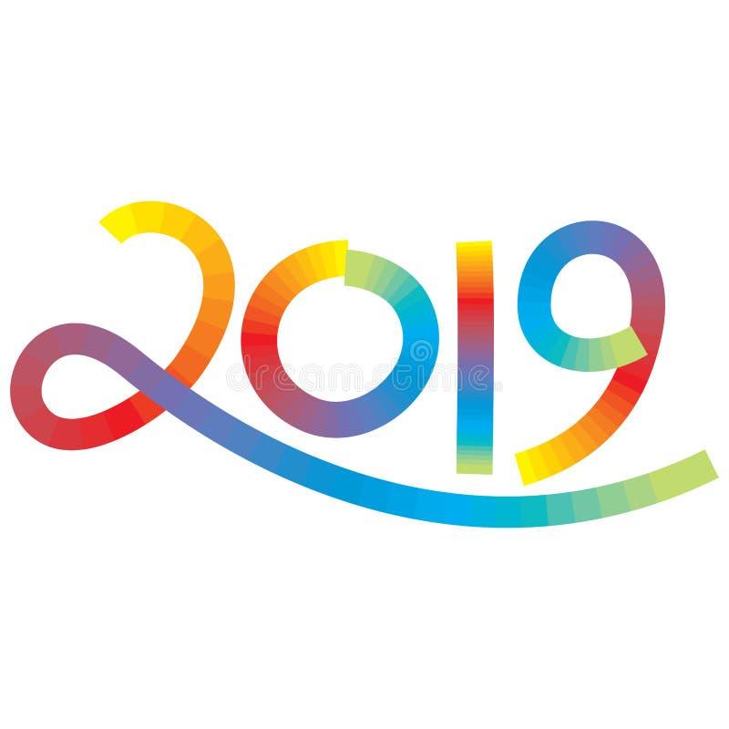 Tal tjugo nitton i mång- färgslaglängdeffekt för det nya året royaltyfri illustrationer