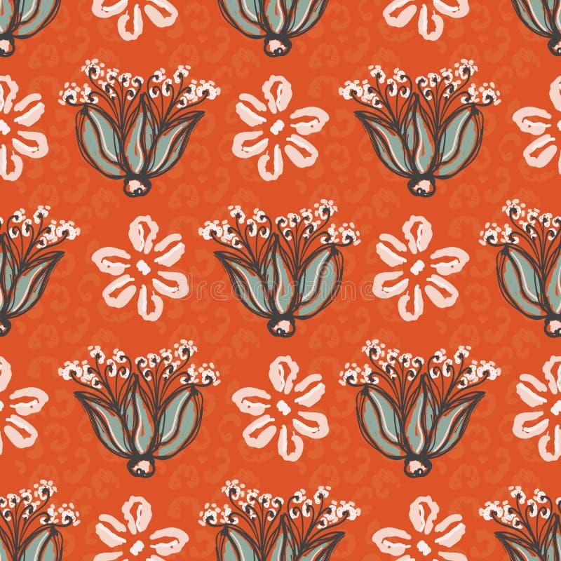 50-tal utformar den blom- illustrationen för den Daisy Vector Pattern Hand Drawn sömlösa tappningblomman royaltyfri illustrationer